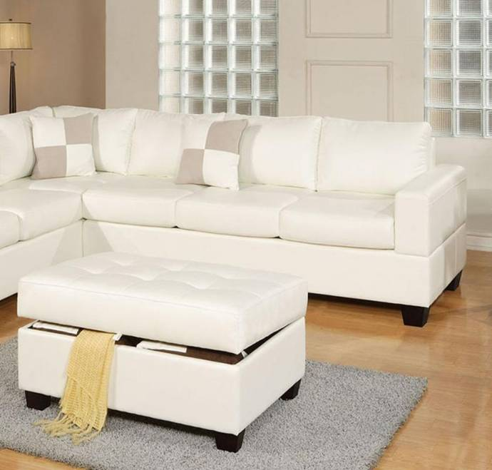 Sectional Sofa W/ Ottoman F7354 White Bonded Leather