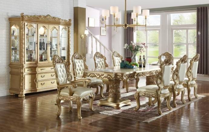 meridian furniture 703 bennito dining room set 7pcs in rich gold rh nyfurnitureoutlets com