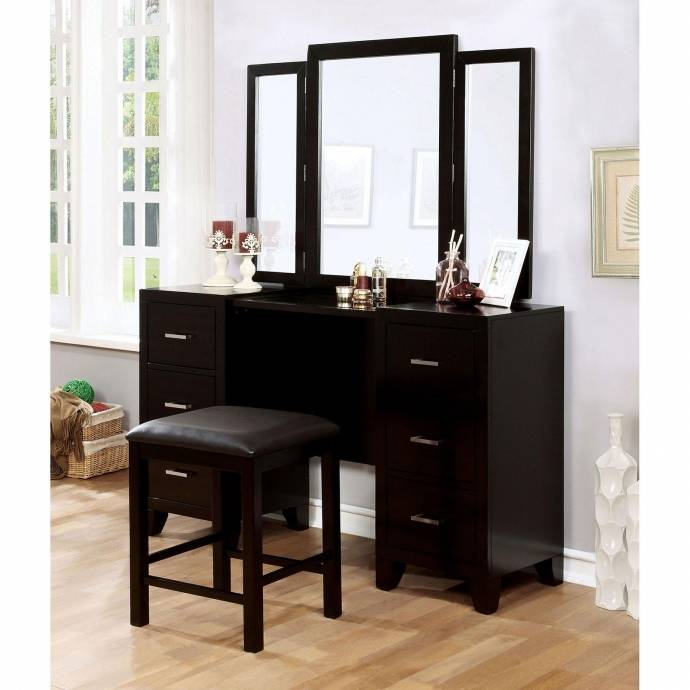 Contemporary Brown Wood Make Up Vanity Enrico Make Up