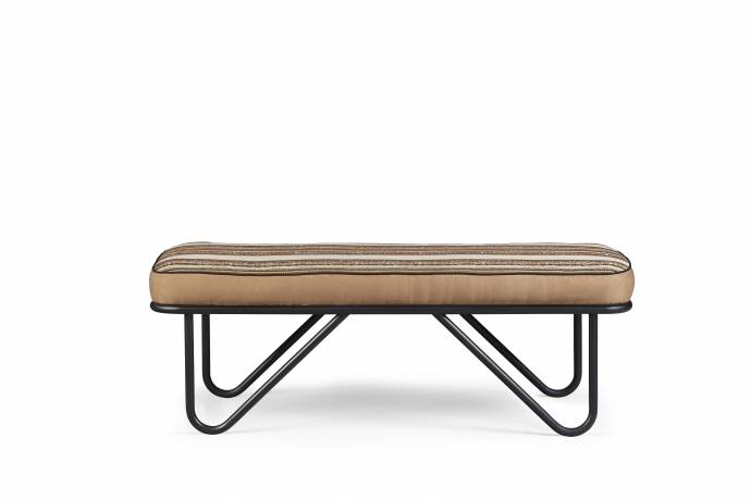 Contemporary Brown Fabric Bench Epicenters Austin A.R.T