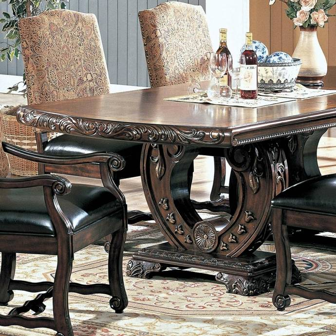 MYCO Furniture Aspen Traditional Dark Brown Finish Carved