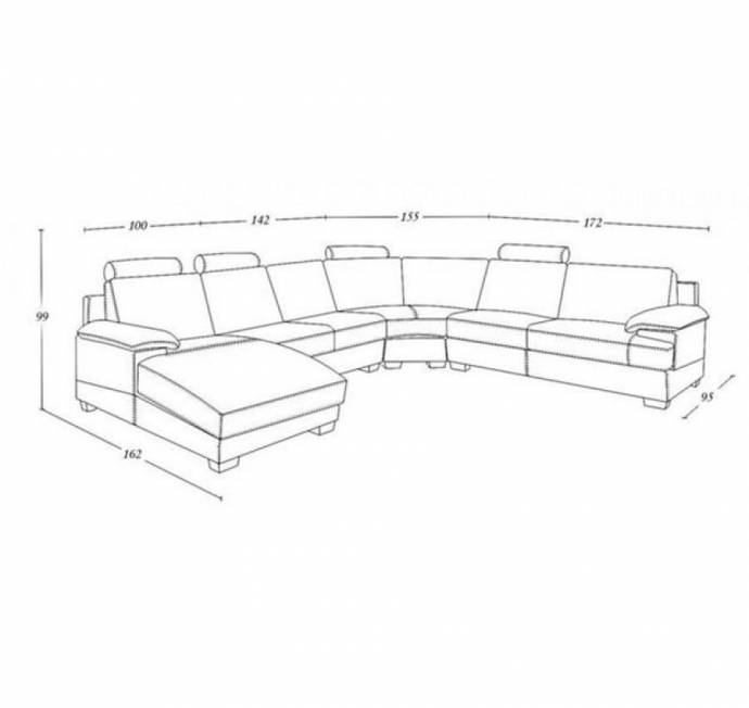 Contemporary Genuine Leather Sectional Sofa Left Chaise