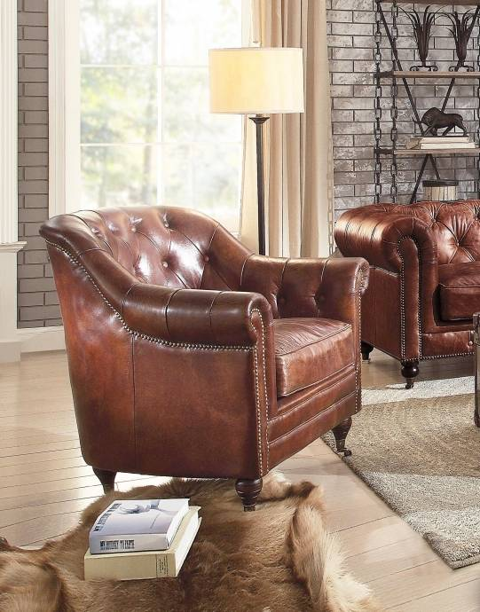 Vintage Dark Brown Top Grain Leather Sofa Set 4P Aberdeen-53625 Acme  Traditional