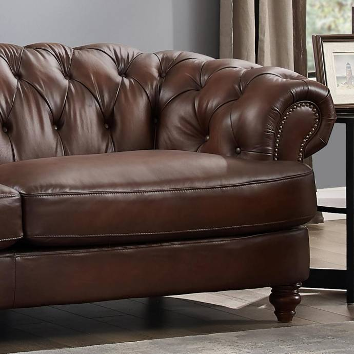 Cheap Genuine Leather Sectional Sofa: Luxury Dark Brown MELTON Genuine Leather Sofa HYDELINE