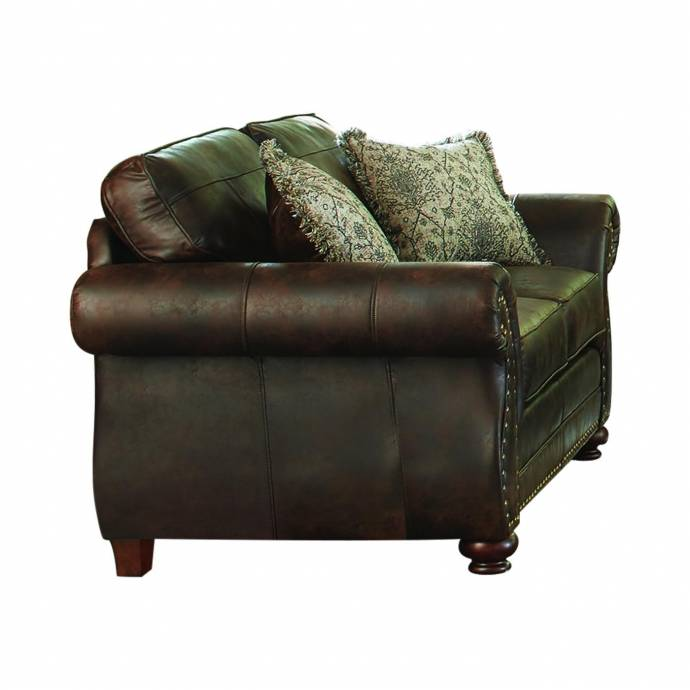 Furniture Sofas Online: Traditional Brown Leather Upholstery Sofa Graceville By