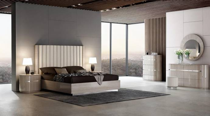J m giorgio modern light maple veneer beige eco leather - Contemporary maple bedroom furniture ...