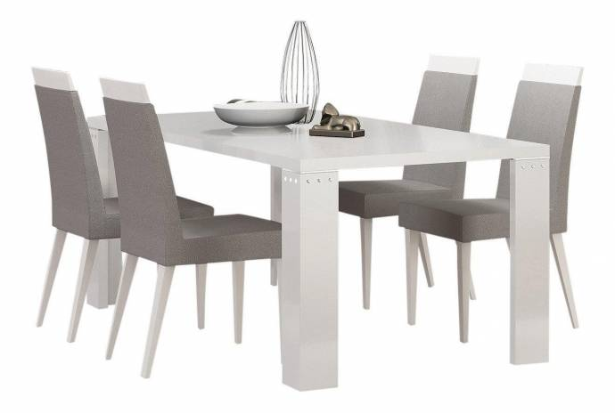 Diamond White Usa >> At Home Usa Elegance Diamond White Lacquered Luxury Dining Table Contemporary