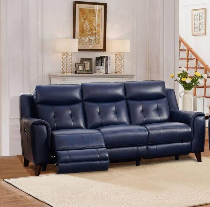 Best Brand Furniture Reviews: Top Grain Leather Power Reclining Blue Sofa Hydeline