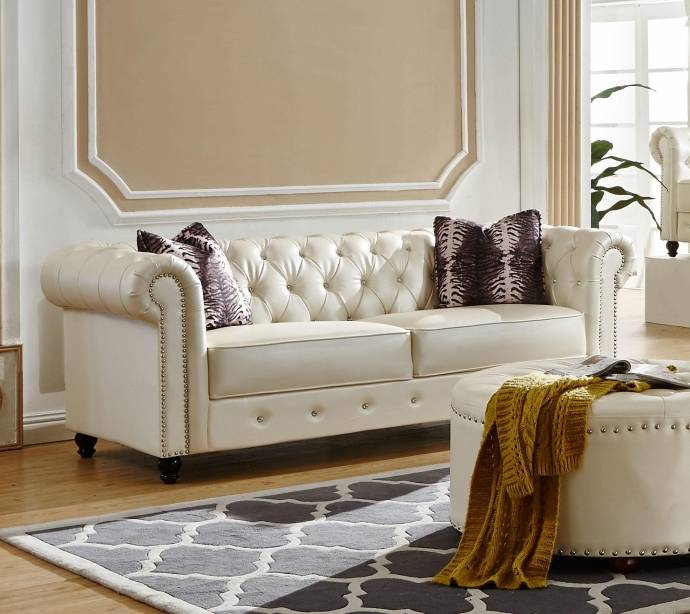 Chair Furniture Outlet Ny Outdoor Furniture Outlet: McFerran SF1802 Traditional White PU Material Living Room