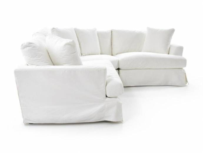 Surprising Soflex Hugo White Perl Stain Resistant Fabric Sectional Sofa Slipcover Onthecornerstone Fun Painted Chair Ideas Images Onthecornerstoneorg