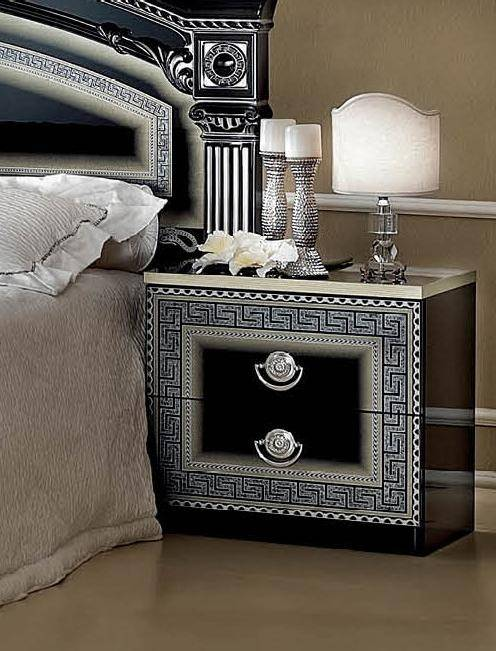 ESF Aida Black Silver Lacquer Queen Bedroom Set 2Ps Made in Italy