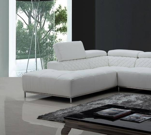 Soflex Orlando Modern White Eco-Leather Sectional Sofa Left Facing Chaise