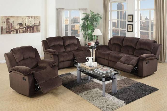 Brown padded suede motion sofa f6712 poundex modern f6712 - Brown suede living room furniture ...