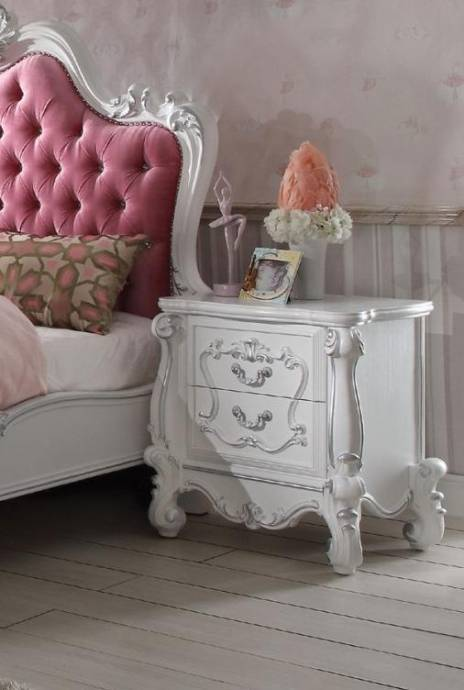 Complete Bedroom Furniture Sets: Acme Furniture 30645F Versailles Pink And Antique White