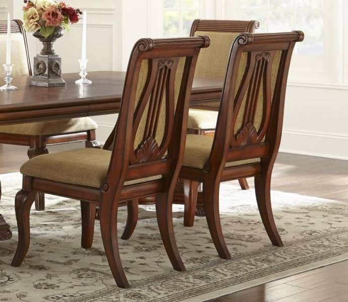 MYCO Furniture Charlene Classic Brown Finish Carved Wood