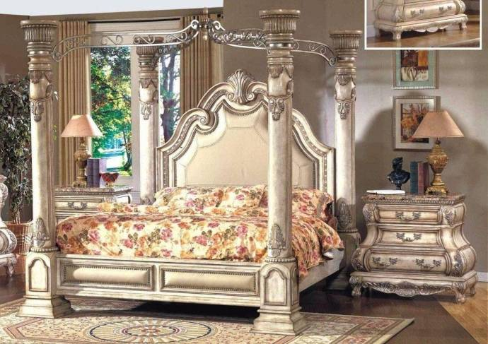 Canopy Bed.Mcferran B9097 Ek Monaco Blanc Luxury King Size Canopy Bedroom Set 3pcs Classic