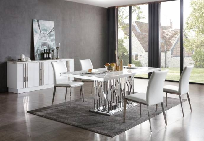 Modern White Marble Amp Stainless Steel Dining Table Vig