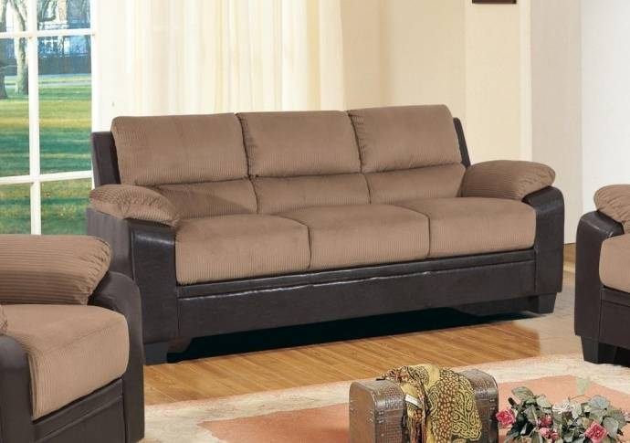 MYCO Furniture Carrie Mocha Fabric & Dark Brown Bonded Leather Sofa ...