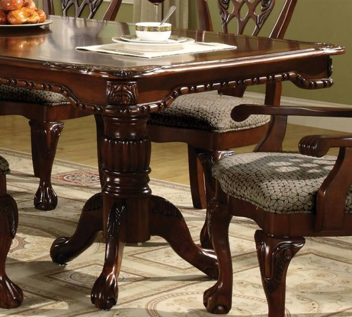 Brussels Traditional Dining Room Set 7 Piece Set: Crown Mark 2470-2471 Brussels Traditional Rich Brown