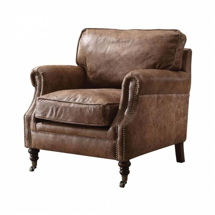 Brown Genuine Leather Accent Chair w/End Table Set Acme ...