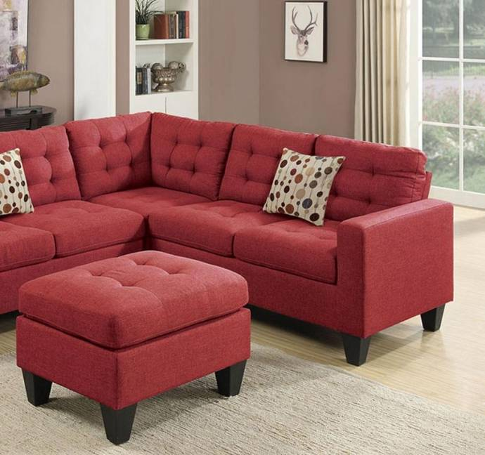 Roomstore Furniture Store: Red Fabric 4-Pcs Modular Sectional Set F6936 Poundex