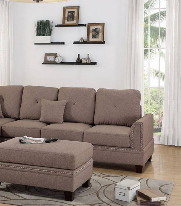 Traditional Fabric Sofa Sets: Brown Fabric Upholstered 2-Pcs Sectional Sofa Set F6513