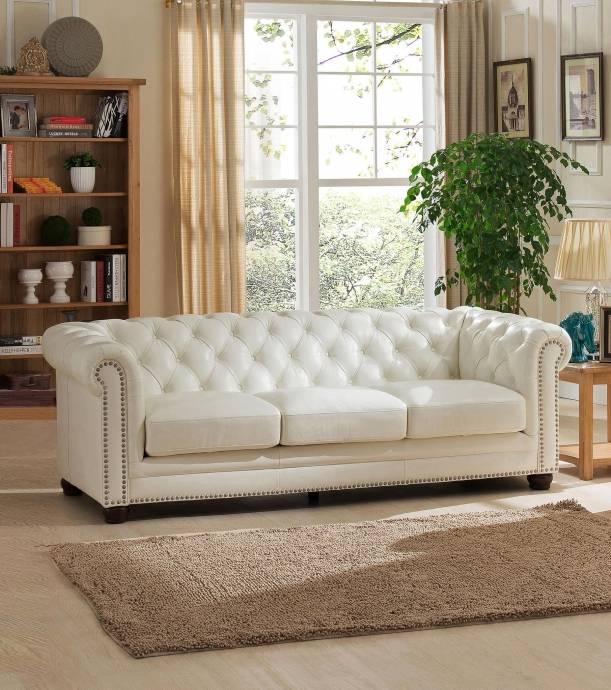 Best Online Sofa Store: Luxury Pearl White Top Grain Leather Sofa Monaco HYDELINE
