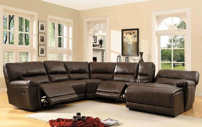 Homelegance 8490 Columbus Brown Leather Match Reclining Sectional W