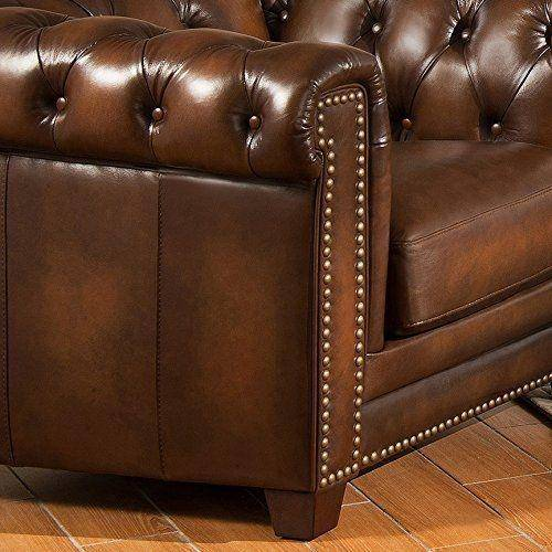 Stanley Leather Sofa Bangalore: Olive Brown Top Grain Leather Sofa Hand Rubbed Amax