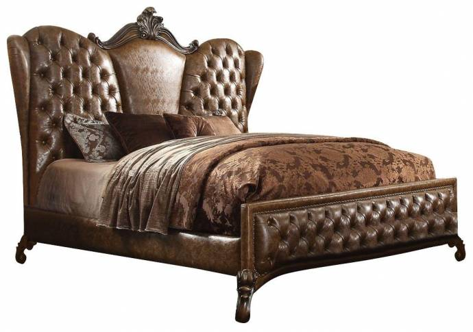 Acme Furniture Versailles 21100q Brown Sleigh Bed Queen Traditional