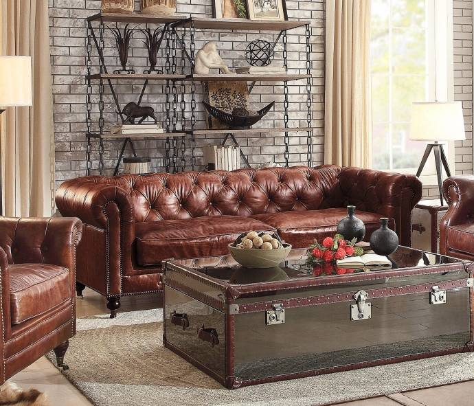 Vintage Dark Brown Top Grain Leather Sofa Set 2P Aberdeen-53625 Acme  Traditional
