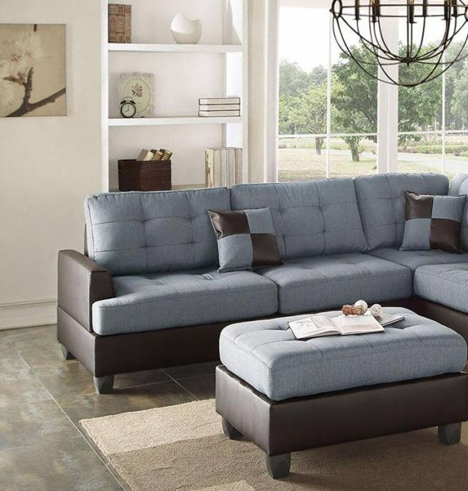 Blue,Brown Faux Leather Sectional Sofa Set 2Pcs F6858