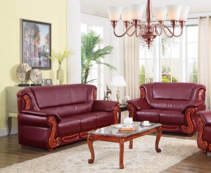 Meridian 632 Bella Burgundy Bonded Leather Living Room Set 2 Traditional  Classic