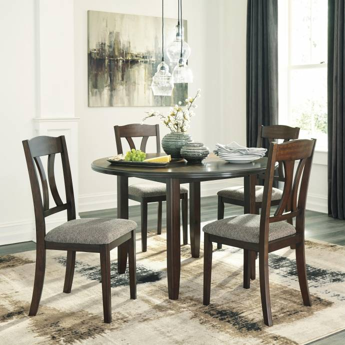 Ashley Charnalo D362 Dining Room Set 5pcs In Warm Brown