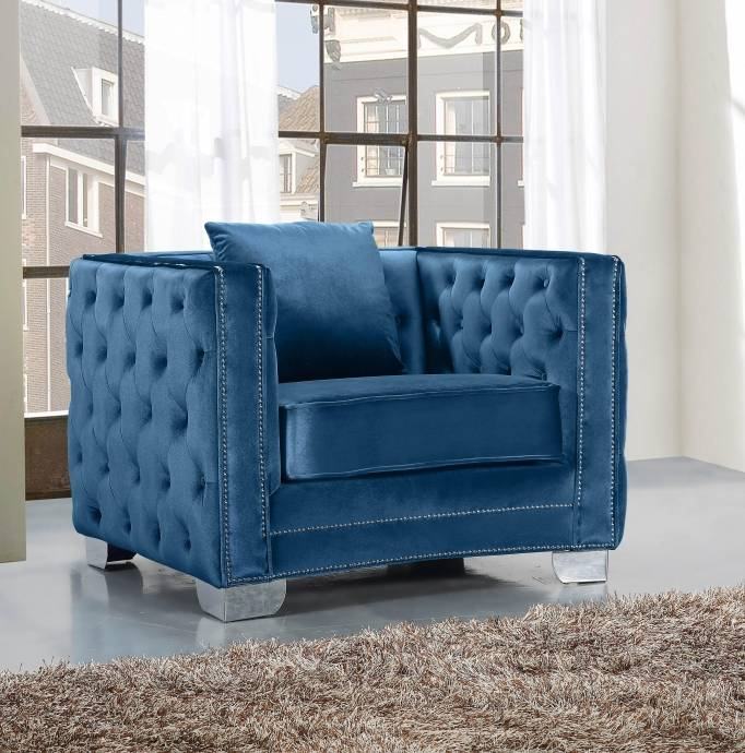 Meridian Furniture 648 Reese Light Blue Tufted Sofa