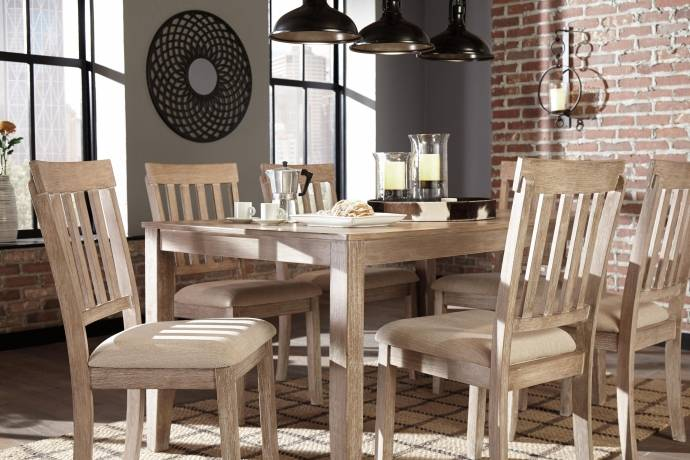 Ashley Mattilone D484 Dining Room Set 7pcs in White Wash Gray