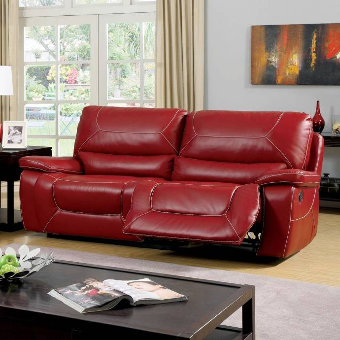 Furniture Store Online Usa: Contemporary Red Fabric Upholstery Reclining Sofa Newburg