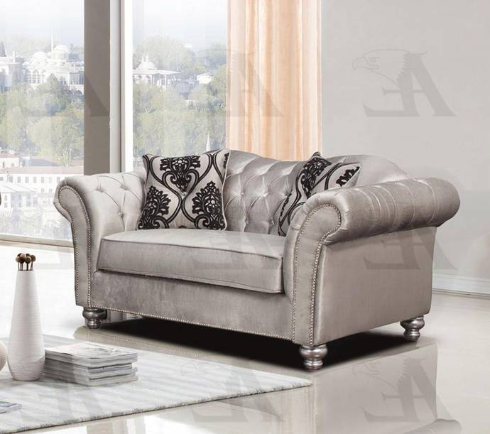American Eagle Furniture AE2600-S Silver Tufted Sofa And