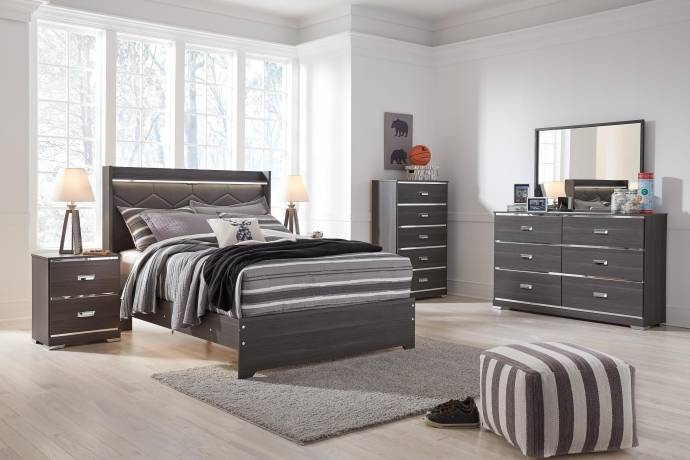 Ashley Annikus B132 Full Size Uph Panel Bedroom Set 6pcs