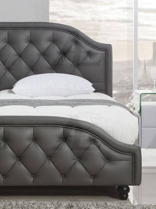 Dark Gray Leather Air Fabric Platform Queen Size Bed