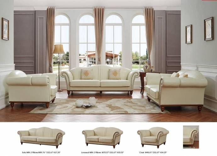 ESF 2601 Ivory Italian Leather Living Room Sofa Set 2Pcs Modern Made in  Italy