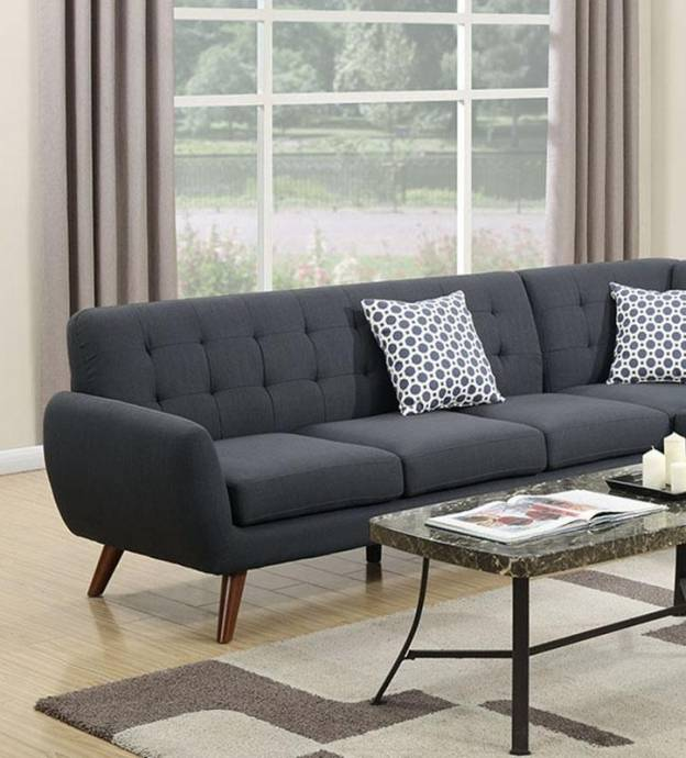 Gray Fabric Sectional Sofa F6954 Poundex Modern Contemporary
