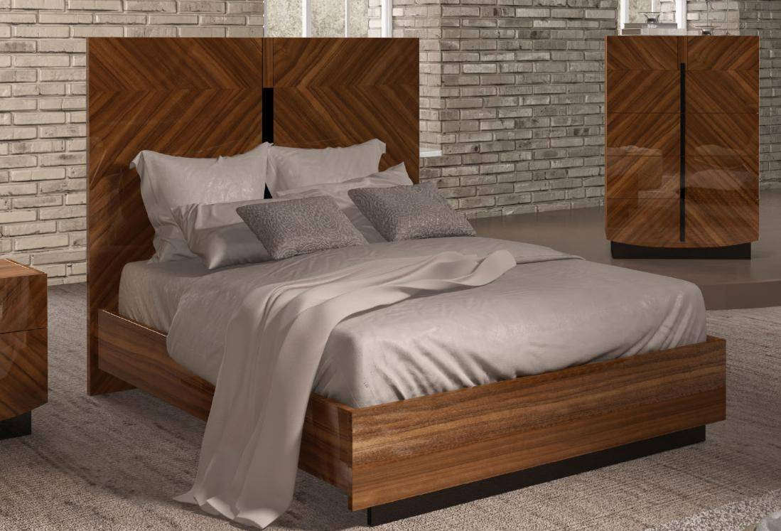 Roma Walnut Contemporary Bed: ESF Flavia Glossy Walnut Finish Queen Bed Made In Italy