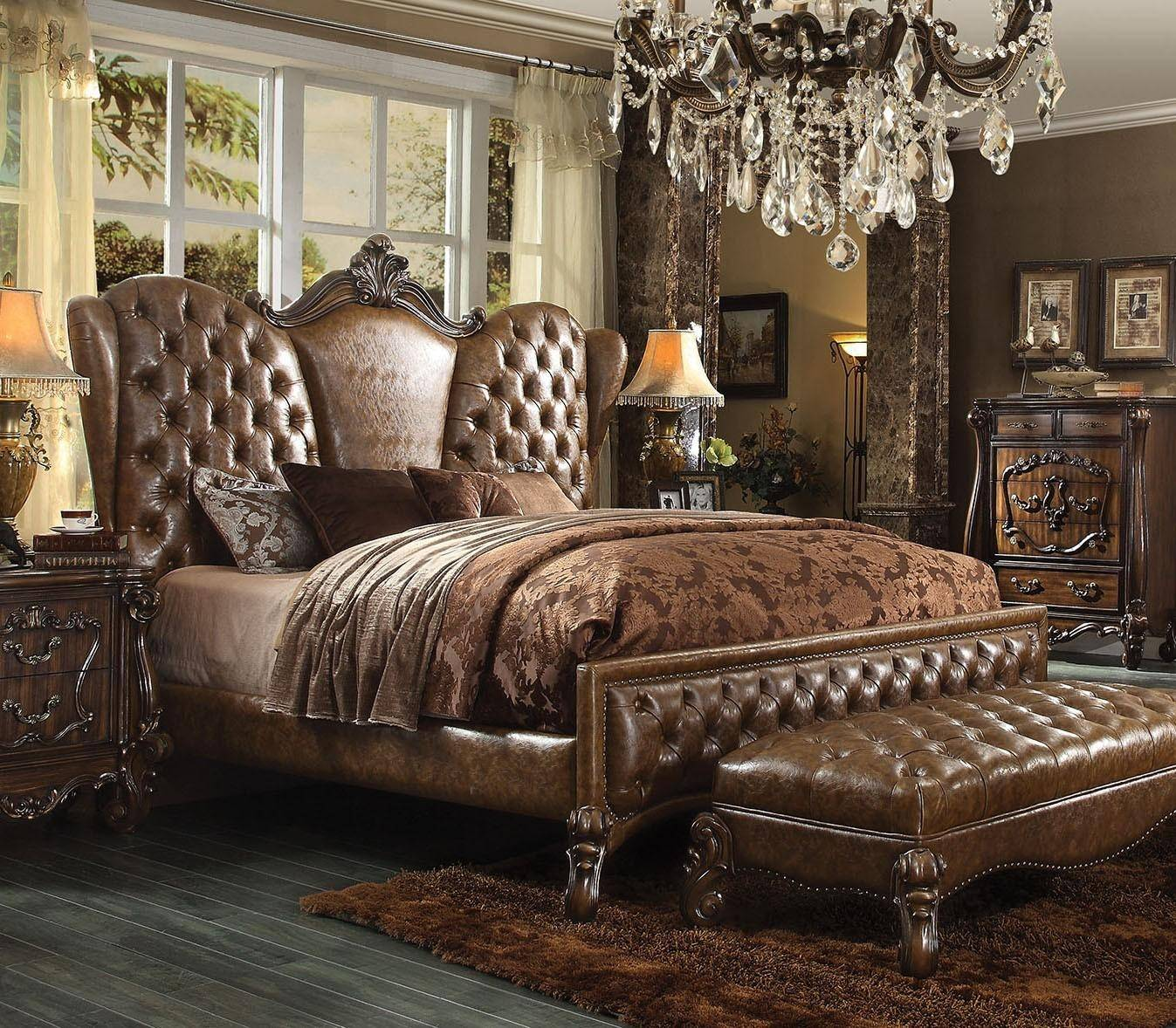 Traditional Furniture Online: Acme Furniture Versailles 21100Q Brown Sleigh Bed Queen