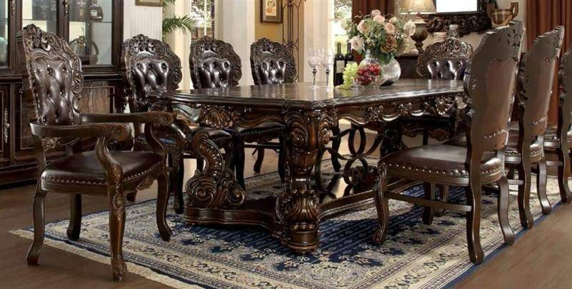Homey Design HD-8006 Traditional Victorian Dark Brown Carved Wood Dining  Room Set 9Pcs