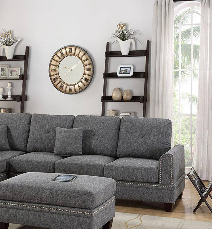 Online Sofa Store: Gray Fabric Upholstered 2-Pcs Sectional Sofa Set F6511 Poundex Traditional (F6511) Buy Online
