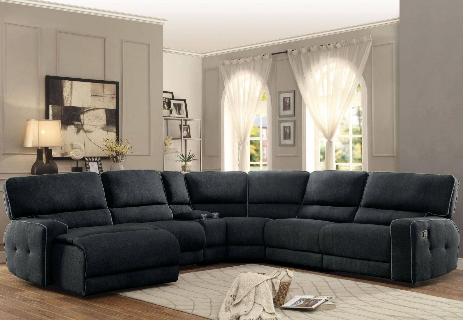 Amazing Homelegance 8336 Keamey Dark Grey Fabric Reclining Sectional Pdpeps Interior Chair Design Pdpepsorg