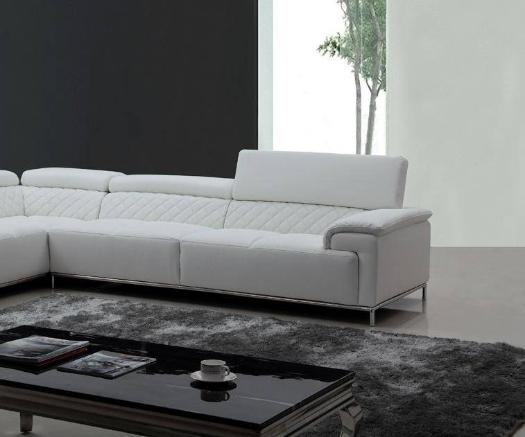 Soflex Orlando Modern White Eco-Leather Sectional Sofa Left Facing ...
