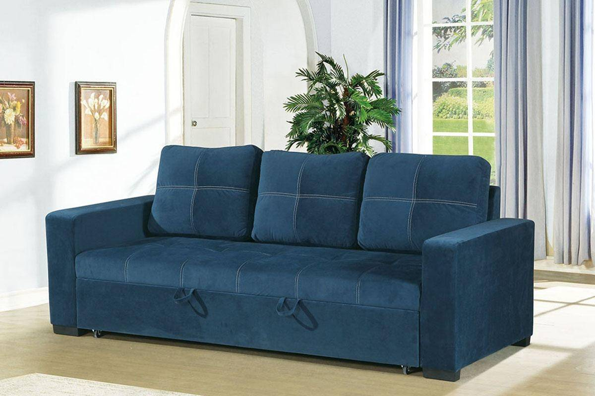 Blue Fabric Convertible Sofa F6531 Poundex Modern Contemporary ...
