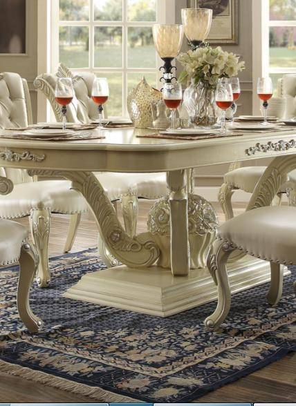 Homey Design Hd 27 Antique Victorian White Dining Room Set 8pcs Carved Wood Hd 27 Set 8